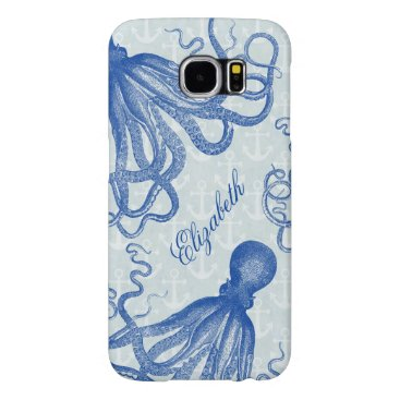 Vintage Blue Octopus with Anchors Personalized Samsung Galaxy S6 Case