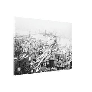 Vintage Brooklyn and Manhattan Bridge Photograph Canvas Print
