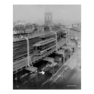 Vintage Brooklyn Bridge Railway Photograph (1910) Posters