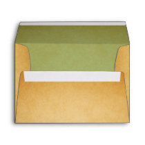 Vintage Brown Green A7 Return Address Envelope