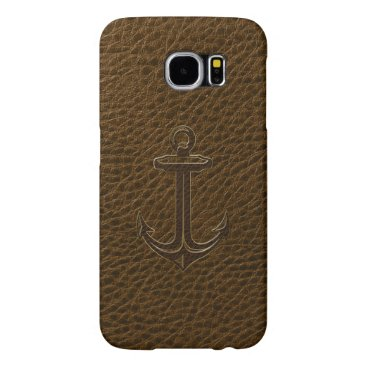 Vintage Brown Leather, Nautical Anchor Gold Accent Samsung Galaxy S6 Case
