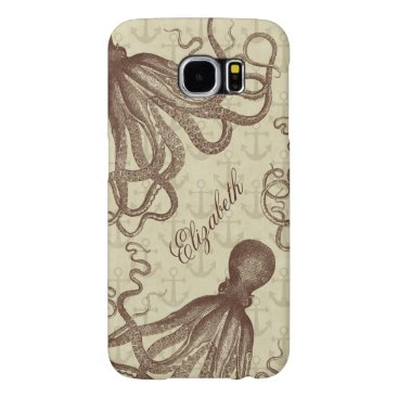 Vintage Brown Octopus with Anchors Personalized Samsung Galaxy S6 Case