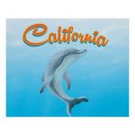 Vintage California Dolphin travel poster
