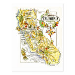 Vintage California Map Road USA Postcard