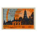 Vintage California poster ticket
