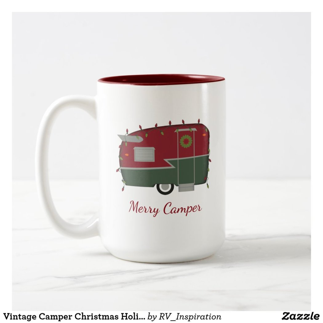 Vintage Camper Christmas Holiday Mug