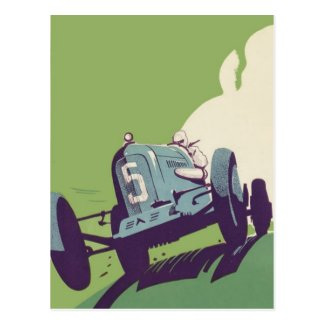 Vintage car racing poster Postcards