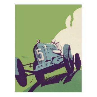 Vintage car racing poster Postcards