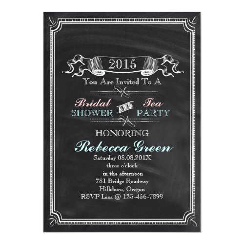 vintage Chalkboard bridal shower tea party Invitation