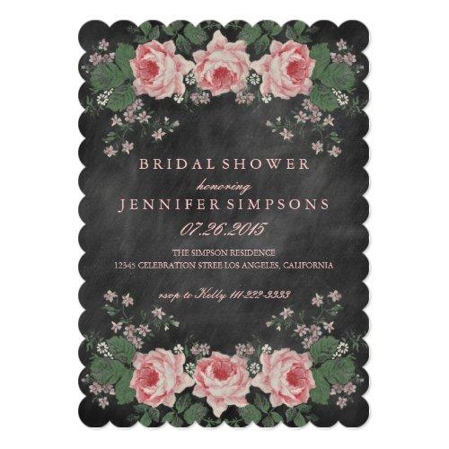 Vintage Chalkboard Floral Rose Bridal Shower Invitation