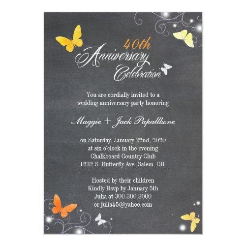 Vintage Chalkboard Wedding Anniversary Invitation