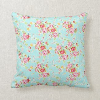 Vintage chic floral roses blue shabby rose flowers throw pillows
