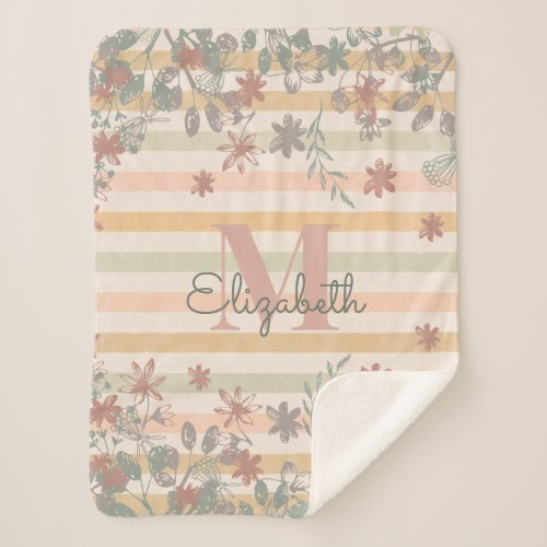Vintage Chic Floral Stripes with Add Name Monogram Sherpa Blanket