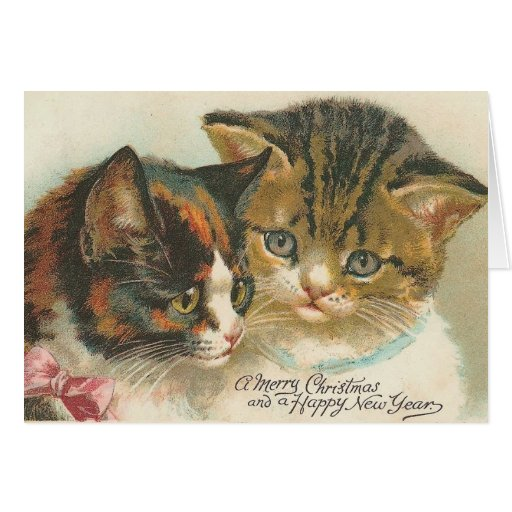Vintage Christmas And New Year Cat Greeting Card Zazzle