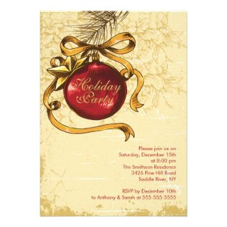 Vintage Christmas Ball Holiday Christmas Party Invites