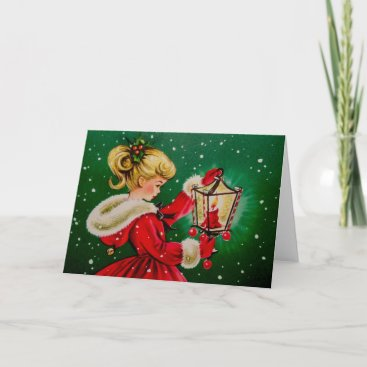 Vintage Christmas Card with Young Girl