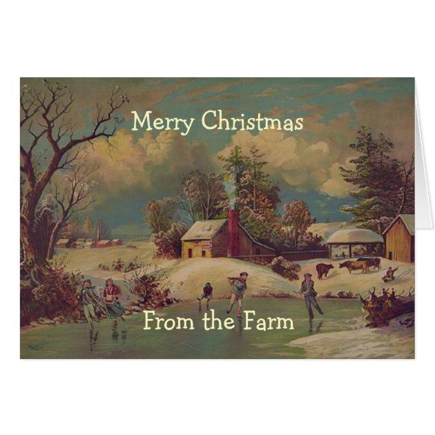 Vintage Christmas Country Farm Scene Card Zazzle Com