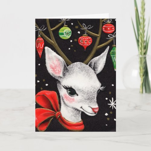 Vintage Christmas Deer Holiday Card