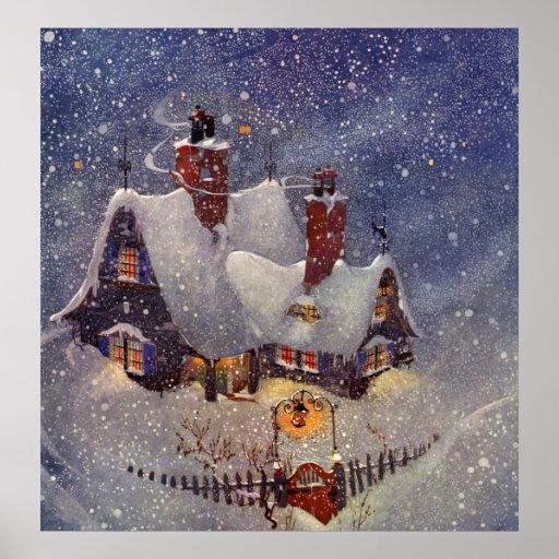 Vintage Christmas Santa Claus Workshop North Pole Poster