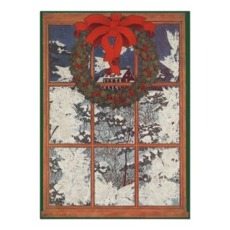 Vintage Christmas Wreath Snow Winter Window Posters