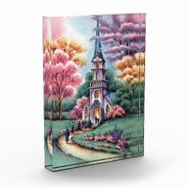 Vintage Church Watercolor Forever Card Acrylic Award