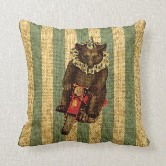 Vintage Circus Bear on Motorcycle Pillow