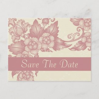 Vintage Coral Rose Ivory Save The Date Postcards postcard
