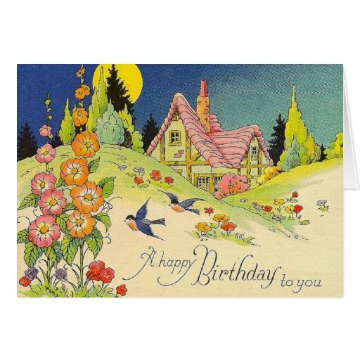 Vintage Cottage Birthday Greeting Card Zazzle