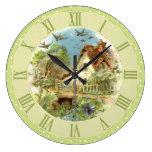 Vintage Country Cottage Scene Green Polka Dots Large Clock