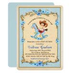 Vintage Cowboy Baby Shower Invitation Blue Floral