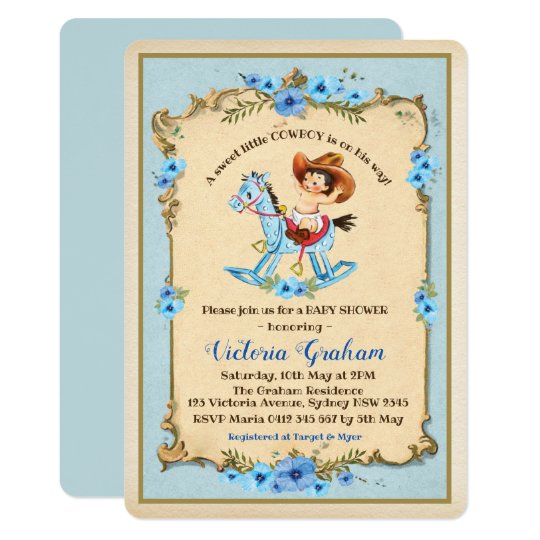 Vintage Cowboy Baby Shower Invitation Blue Fl