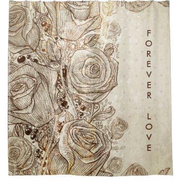 Vintage Cream Floral Forever Love Shower Curtains
