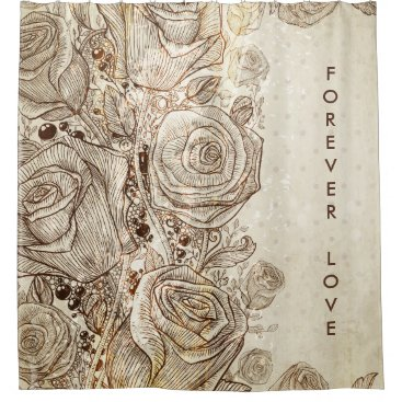 Vintage Cream Floral Forever Love Shower Curtains Shower Curtain
