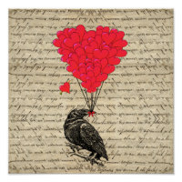 Vintage Crow and heart shaped balloons Poster