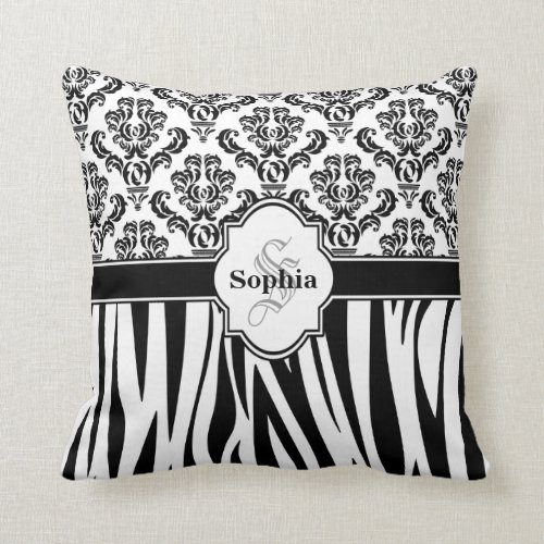 Vintage Damask Cool Zebra Stripes Pillow