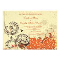 Vintage distressed orange floral wedding invite