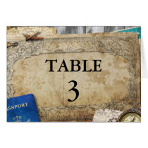 Vintage Distressed World Travel Table Number Card
