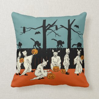 """Vintage Early 1900s Halloween """"Spooks On Parade"""" Pillow"""