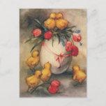Vintage Spring Chicks & Tulips Postcard