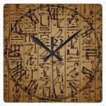 Vintage Egyptian Hieroglyphics Paper Print Square Wall Clock