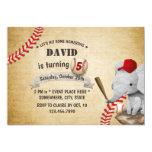 ❤️ Vintage Elephant Baseball 5th Birthday Party Invitation