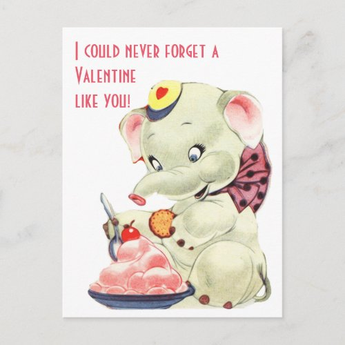 Vintage Elephant With Ice Cream Valentines Day Holiday Postcard
