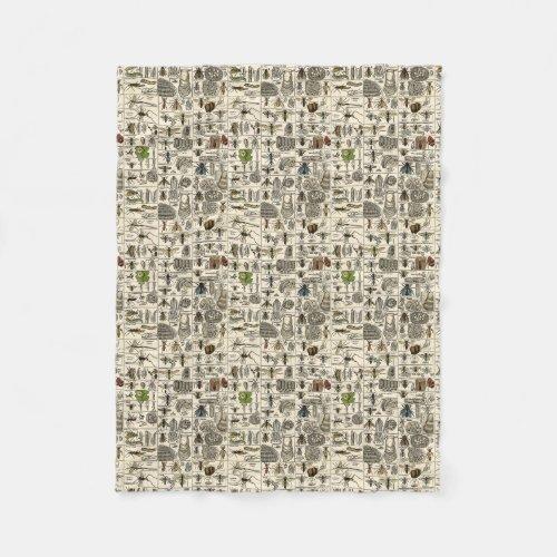 Vintage Entomology Fleece Blanket
