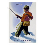 Vintage Fishing in Colorado Travel Poster