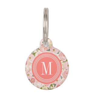 Vintage Floral Coral Peach Girly Flowers Pet Nametags