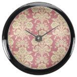 vintage,floral,coral,pink,rustic,damask,victorian, aquavista clocks