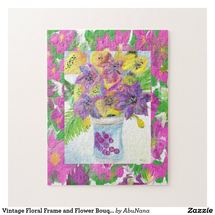 Vintage Floral Frame and Flower Bouquet Jigsaw Puzzle