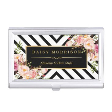 Vintage Floral Gold Black White Abstract Stripes Business Card Case