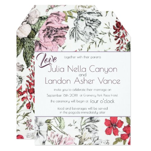Vintage Floral Roses Dragonfly Red Purple Wedding Invitation