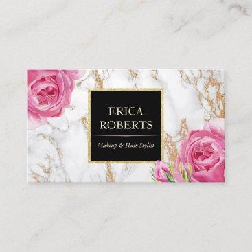 Vintage Floral Trendy Gold Marble Makeup Artist Business Card